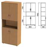 Шкаф полузакрытый «Этюд», 800×384×1942 мм, цвет бук бавария (КОМПЛЕКТ)
