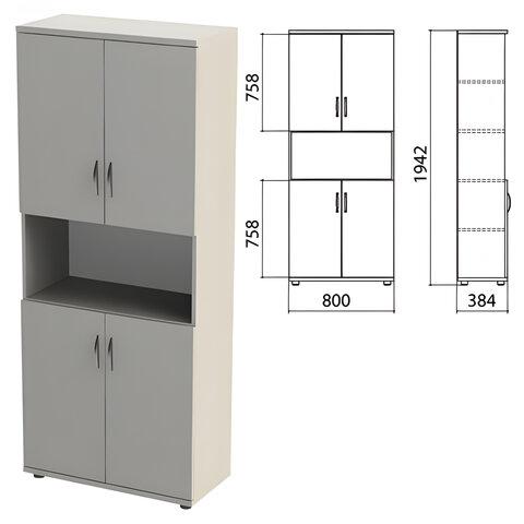 Шкаф полузакрытый «Этюд», 800×384×1942 мм, цвет серый (КОМПЛЕКТ)