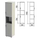 Шкаф полузакрытый «Этюд», 400×384×1942 мм, цвет серый (КОМПЛЕКТ)