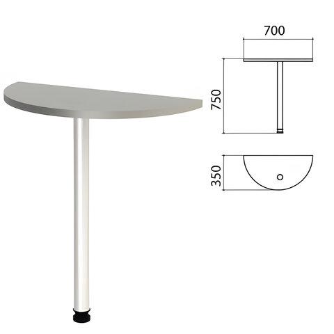 Стол приставной полукруг «Этюд», 700×350×750 мм, цвет серый (КОМПЛЕКТ)