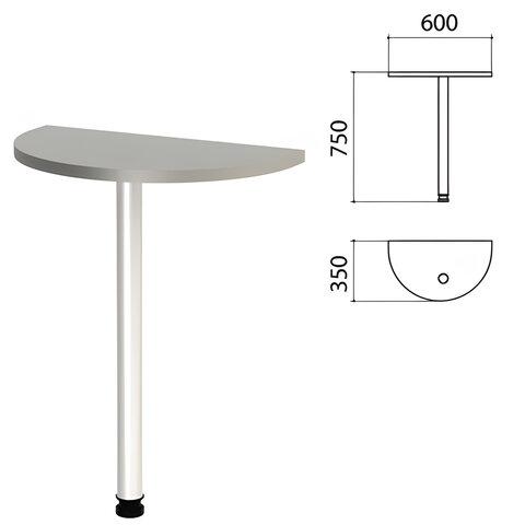 Стол приставной полукруг «Этюд», 600×350×750 мм, цвет серый (КОМПЛЕКТ)