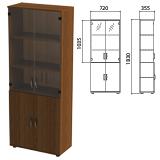 Шкаф закрытый со стеклом «Эко», 720×355×1830 мм, цвет орех (КОМПЛЕКТ)