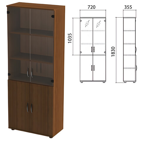 "Шкаф закрытый со стеклом ""Эко"", 720х355х1830 мм, цвет орех (КОМПЛЕКТ)"