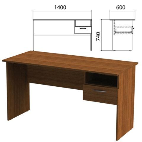 Стол письменный с навесной тумбой «Эко», 1400×600×740 мм, цвет орех (КОМПЛЕКТ)