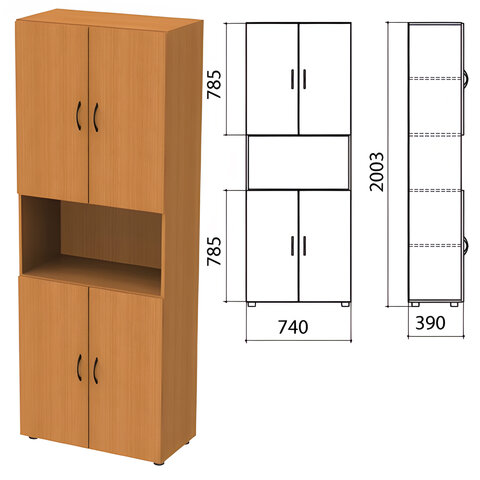 Шкаф полузакрытый «Фея», 740×390×2000 мм, цвет орех милан (КОМПЛЕКТ)