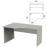 Стол письменный эргономичный «Этюд», 1400×900×750 мм, левый, серый (КОМПЛЕКТ)
