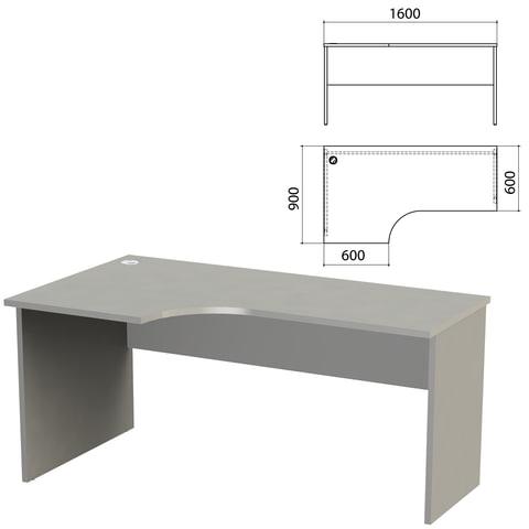 Стол письменный эргономичный «Этюд», 1600×900×750 мм, левый, серый (КОМПЛЕКТ)