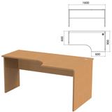 Стол письменный эргономичный «Этюд», 1600×900×750 мм, правый, бук бавария (КОМПЛЕКТ)