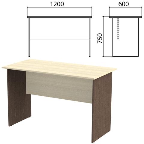 Стол письменный «Канц», 1200×600×750 мм, цвет дуб молочный/<wbr/>венге (КОМПЛЕКТ)