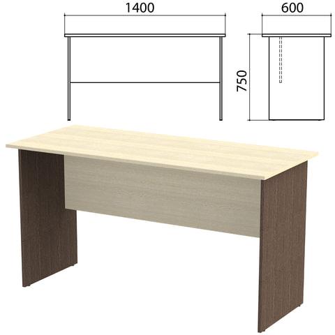 Стол письменный «Канц», 1400×600×750 мм, цвет дуб молочный/<wbr/>венге (КОМПЛЕКТ)