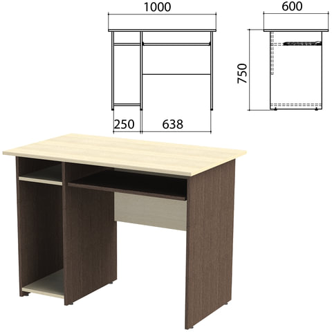 Стол компьютерный «Канц», 1000×600×750 мм, с тумбой, цвет дуб молочный/<wbr/>венге (КОМПЛЕКТ)