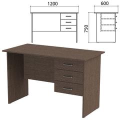Стол письменный «Канц», 1200×600×750 мм, тумба 3 ящика, цвет венге (КОМПЛЕКТ)