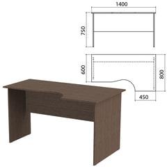 Стол письменный эргономичный «Канц», 1400×800×750 мм, правый, цвет венге (КОМПЛЕКТ)