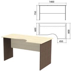 Стол письменный эргономичный «Канц», 1400×800×750 мм, правый, цвет дуб молочный/<wbr/>венге (КОМПЛЕКТ)