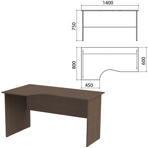 Стол письменный эргономичный «Канц», 1400×800×750 мм, левый, цвет венге (КОМПЛЕКТ)