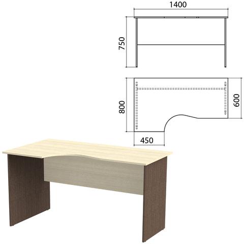 Стол письменный эргономичный «Канц», 1400×800×750 мм, левый, цвет дуб молочный/<wbr/>венге (КОМПЛЕКТ)