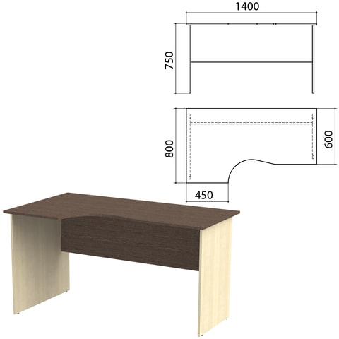 """Стол письменный эргономичный """"Канц"""", 1400х800х750 мм, левый, цвет венге/дуб молочный (КОМПЛЕКТ)"""