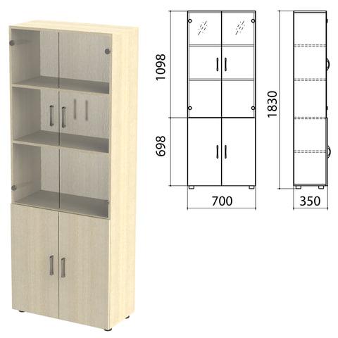 Шкаф закрытый со стеклом «Канц», 700×350×1830 мм, цвет дуб молочный (КОМПЛЕКТ)