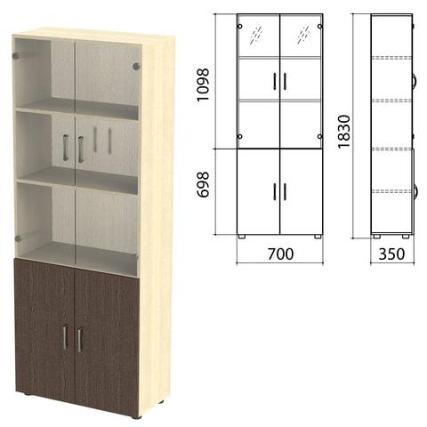 """Шкаф закрытый со стеклом """"Канц"""", 700х350х1830 мм, цвет дуб молочный/венге (КОМПЛЕКТ)"""