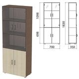 Шкаф закрытый со стеклом «Канц», 700×350×1830 мм, цвет венге/<wbr/>дуб молочный (КОМПЛЕКТ)
