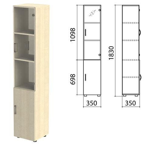 Шкаф закрытый со стеклом «Канц», 350×350×1830 мм, цвет дуб молочный (КОМПЛЕКТ)