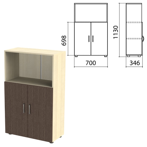 "Шкаф полузакрытый ""Канц"", 700х350х1130 мм, цвет дуб молочный/венге (КОМПЛЕКТ)"