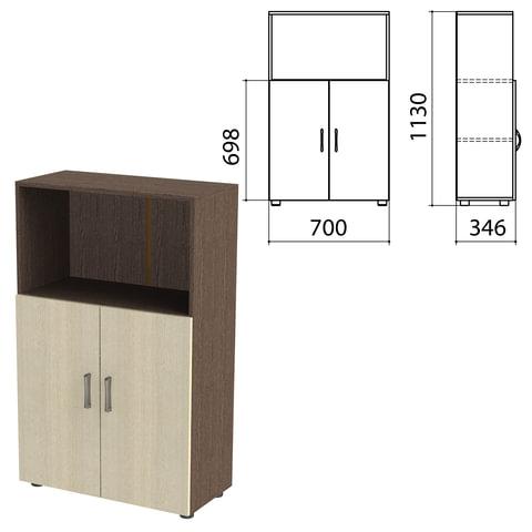 "Шкаф полузакрытый ""Канц"", 700х350х1130 мм, цвет венге/дуб молочный (КОМПЛЕКТ)"