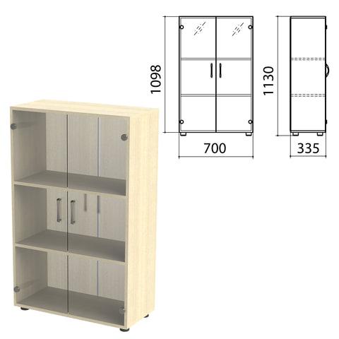 "Шкаф закрытый со стеклом ""Канц"", 700х335х1130 мм, цвет дуб молочный (КОМПЛЕКТ)"