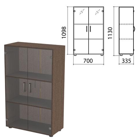 "Шкаф закрытый со стеклом ""Канц"", 700х335х1130 мм, цвет венге (КОМПЛЕКТ)"
