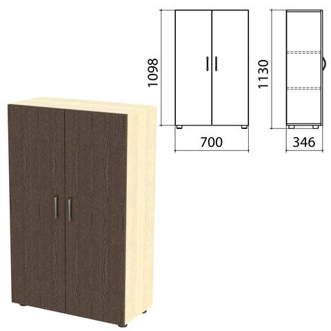 Шкаф закрытый «Канц», 700×350×1130 мм, цвет дуб молочный/<wbr/>венге (КОМПЛЕКТ)