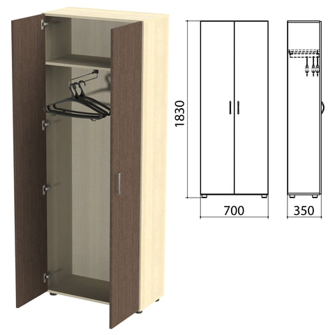 Шкаф для одежды «Канц», 700×350×1830 мм, цвет дуб молочный/<wbr/>венге (КОМПЛЕКТ)