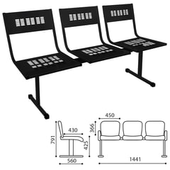 Кресло для посетителей трехсекционное «М-стайл», цвет черный.