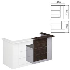 Стойка ресепшн «Профит», 1200×1000×1180 мм, угол левый, орех шале/<wbr/>серый (КОМПЛЕКТ)