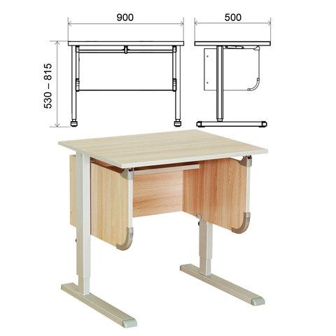 Стол-парта регулируемый ДЭМИ СУТ.28, 900х530х530-815 мм, серый/ясень (КОМПЛЕКТ)