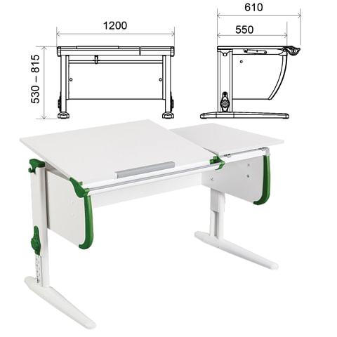 Стол-парта регулируемый ДЭМИ СУТ.25, 1200х610х530-815 мм, белый/зеленый (КОМПЛЕКТ)