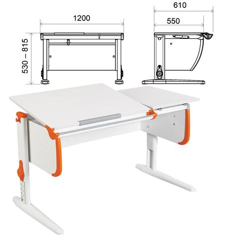 Стол-парта регулируемый ДЭМИ СУТ.25, 1200х610х530-815 мм, белый/оранжевый (КОМПЛЕКТ)
