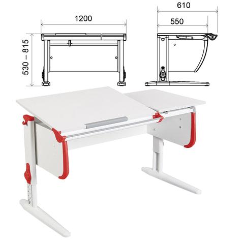 Стол-парта регулируемый ДЭМИ СУТ.25, 1200х610х530-815 мм, белый/красный (КОМПЛЕКТ)