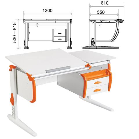 Стол-парта регулируемый с тумбой навесной ДЭМИ СУТ.25, 1200х610х530-815 мм, белый/оранжевый (КОМПЛЕКТ)