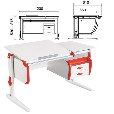 Стол-парта регулируемый с тумбой навесной ДЭМИ СУТ.25, 1200х610х530-815 мм, белый/красный (КОМПЛЕКТ)