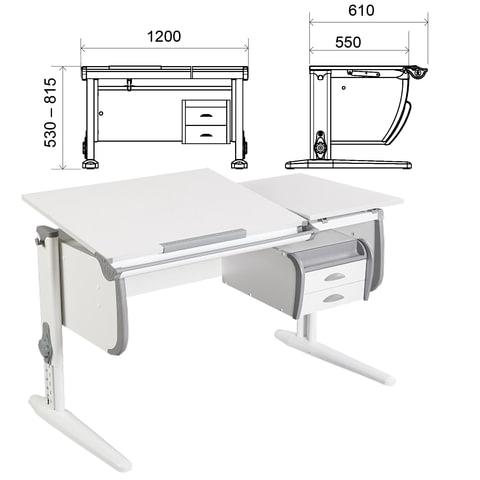 Стол-парта регулируемый с тумбой навесной ДЭМИ СУТ.25, 1200х610х530-815 мм, белый/серый (КОМПЛЕКТ)