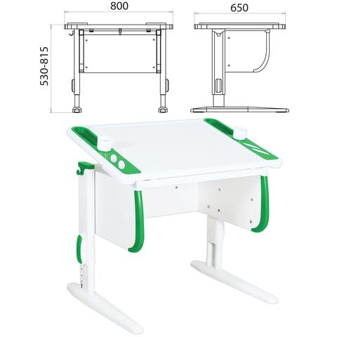 Стол-парта регулируемый ДЭМИ СУТ.26, 800х650х530-815 мм, белый/зеленый (КОМПЛЕКТ)