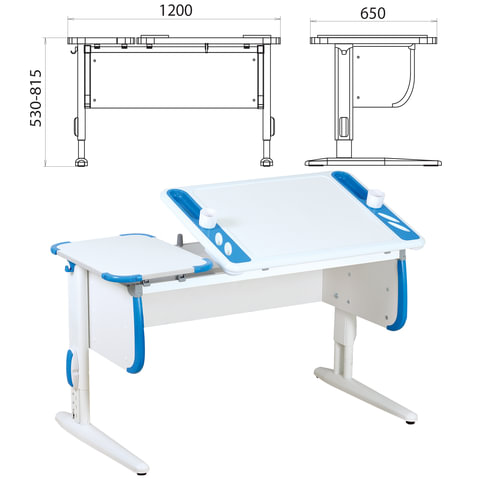 Стол-парта регулируемый ДЭМИ СУТ.31, 1200х650х530-815 мм, белый/синий (КОМПЛЕКТ)