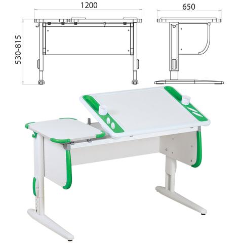 Стол-парта регулируемый ДЭМИ СУТ.31, 1200х650х530-815 мм, белый/зеленый (КОМПЛЕКТ)