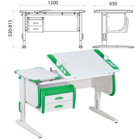 Стол-парта регулируемый с тумбой навесной ДЭМИ СУТ.31, 1200х650х530-815 мм, белый/зеленый (КОМПЛЕКТ)