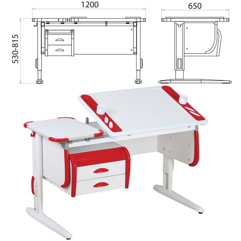 Стол-парта регулируемый с тумбой навесной ДЭМИ СУТ.31, 1200х650х530-815 мм, белый/красный (КОМПЛЕКТ)