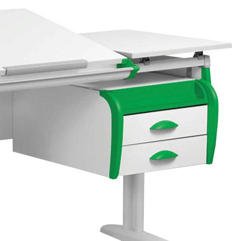 "Тумба навесная для парты ""ДЭМИ"" СУТ.25, 31, 585х435х285 мм, 2 ящика + лоток, цвет белый/зеленый (КОМПЛЕКТ)"