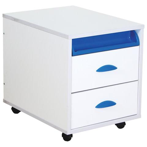 Тумба подкатная ДЭМИ ТУВ.01-01, 426х570х452 мм, 2 ящика + лоток, цвет белый/синий (КОМПЛЕКТ)