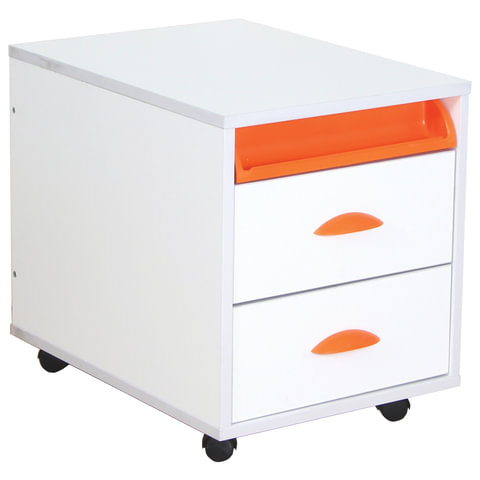 Тумба подкатная ДЭМИ ТУВ.01-01, 426х570х452 мм, 2 ящика + лоток, цвет белый/оранжевый (КОМПЛЕКТ)