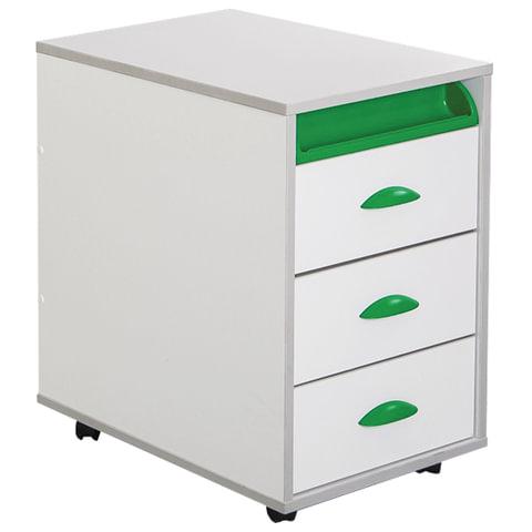 Тумба подкатная ДЭМИ ТУВ.02-01, 426х570х620 мм, 3 ящика + лоток, цвет белый/зеленый (КОМПЛЕКТ)