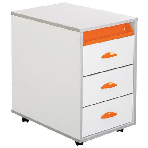 Тумба подкатная ДЭМИ ТУВ.02-01, 426х570х620 мм, 3 ящика + лоток, цвет белый/оранжевый (КОМПЛЕКТ)
